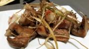 Níscalo lactorius deliciosus con langostinos y vrujientes de puerros